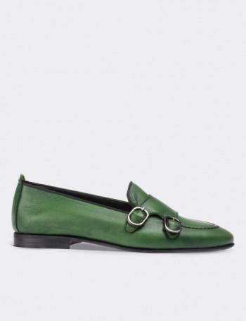 Hakiki Deri Çift Tokalı Yeşil Kadın Ayakkabı