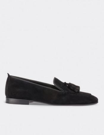 Hakiki Deri Siyah Süet Püsküllü Kadın Ayakkabı