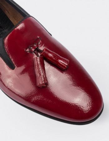 Hakiki Deri Bordo Püsküllü Kadın Ayakkabı