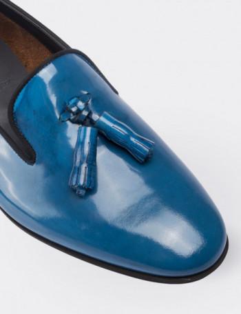 Hakiki Rugan Mavi Püsküllü Kadın Ayakkabı