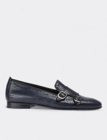 Hakiki Deri Kroko Desen Çift Tokalı Lacivert Kadın Ayakkabı