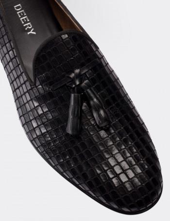 Hakiki Deri Siyah Erkek Loafer