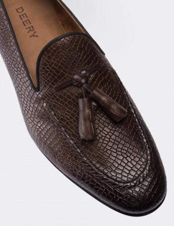 Hakiki Deri Kahverengi Kroko Erkek Loafer