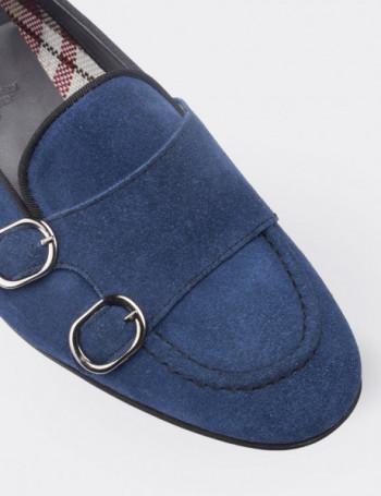 Hakiki Süet Çift Tokalı Lacivert Kadın Ayakkabı