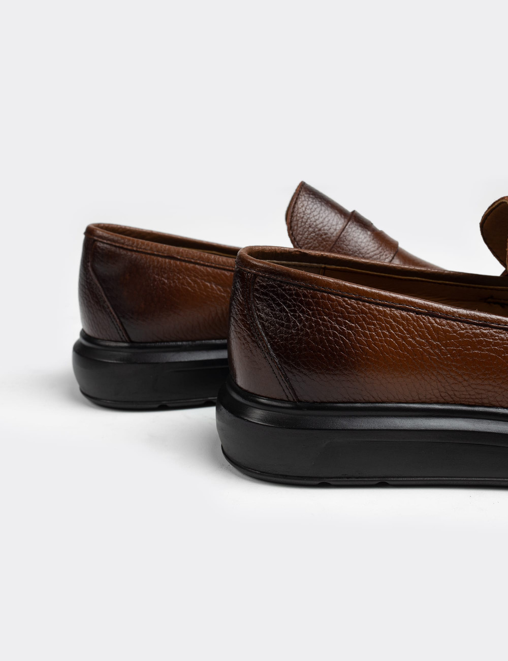 Hakiki Deri Kahverengi Erkek Loafer - 01564MKHVP03