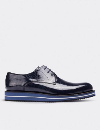 Hakiki Rugan Desenli Lacivert Günlük Erkek Ayakkabı