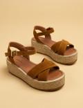 Hakiki Süet Taba Rengi Kadın Sandalet