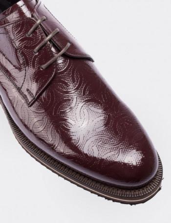 Hakiki Rugan Desenli Bordo Günlük Erkek Ayakkabı