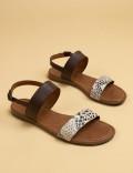 Hakiki Deri Bej Kroko Kadın Sandalet