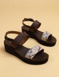 Hakiki Deri Bej Rengi Kadın Sandalet