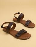 Hakiki Deri Kroko Kahverengi Kadın Sandalet