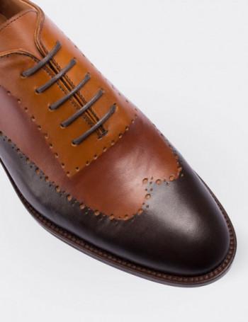 Hakiki Deri Özel Üretim Çift Renkli Kahverengi Kösele Erkek Ayakkabı