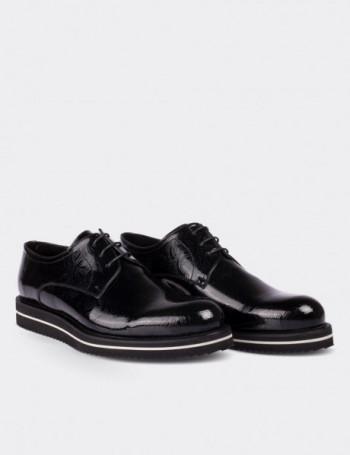 Hakiki Rugan Desenli Siyah Günlük Erkek Ayakkabı