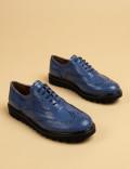Hakiki Rugan Mavi Günlük Oxford Kadın Ayakkabı