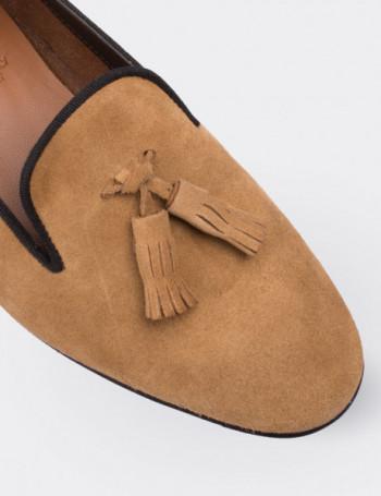 Hakiki Süet Taba Rengi Püsküllü Kadın Ayakkabı